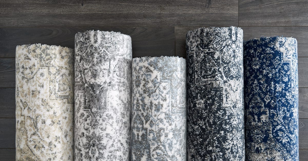 Rolls of Blue Stanton Rugs