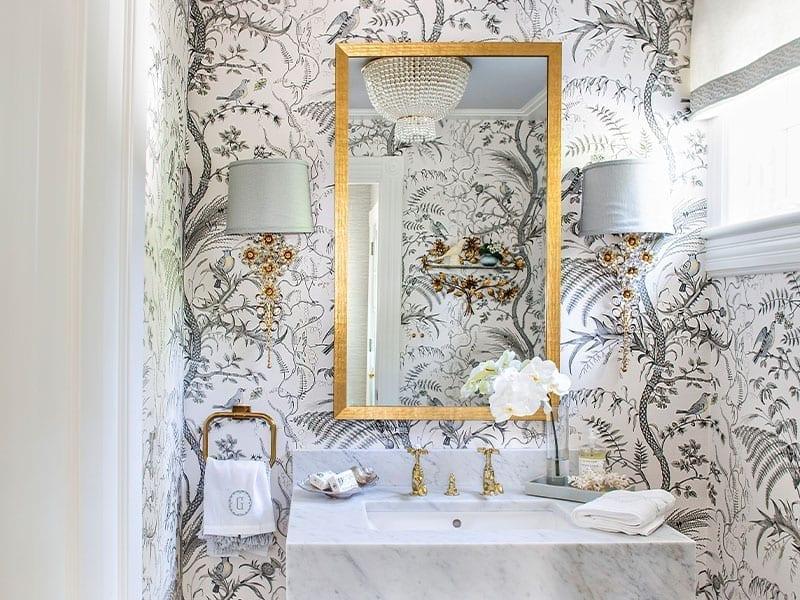 Ashbourne Designers Glam Bathroom with Wallpaper