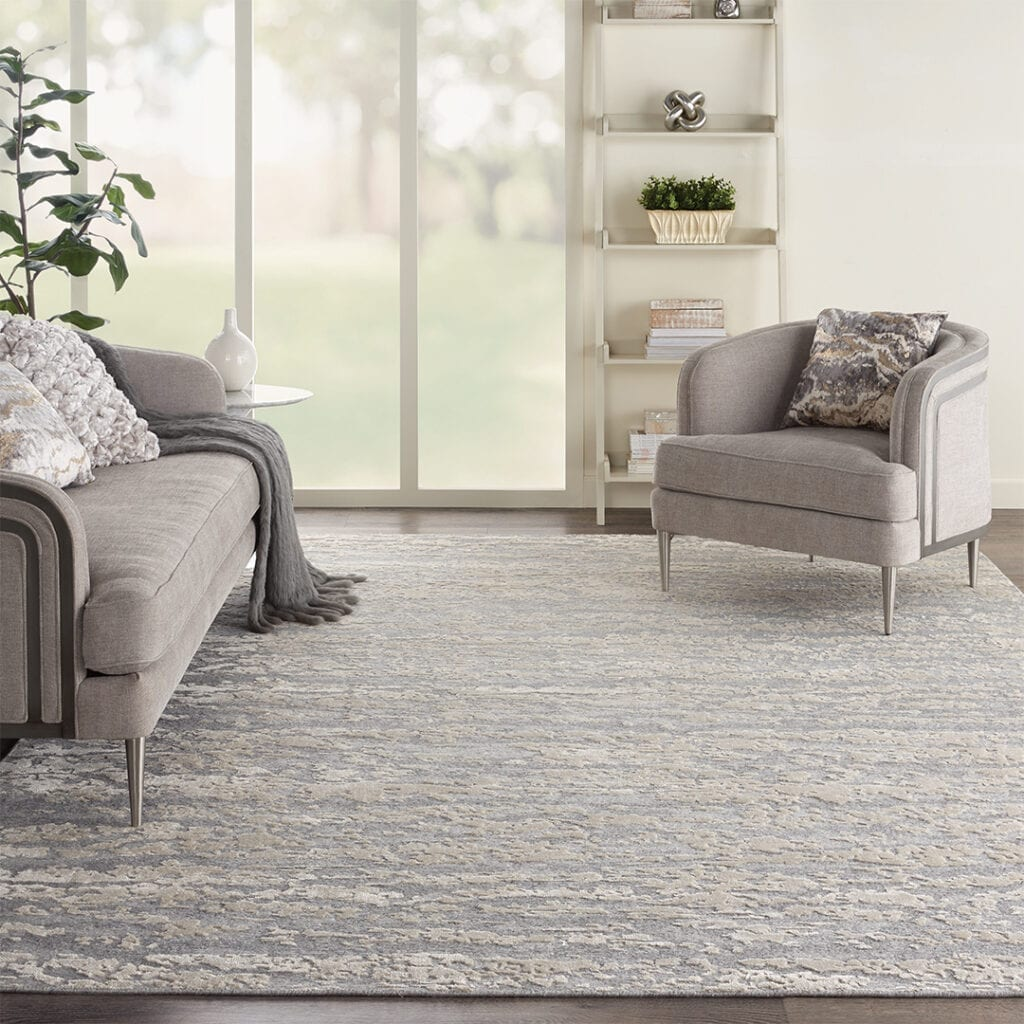 Living Room with Gray Area Rug