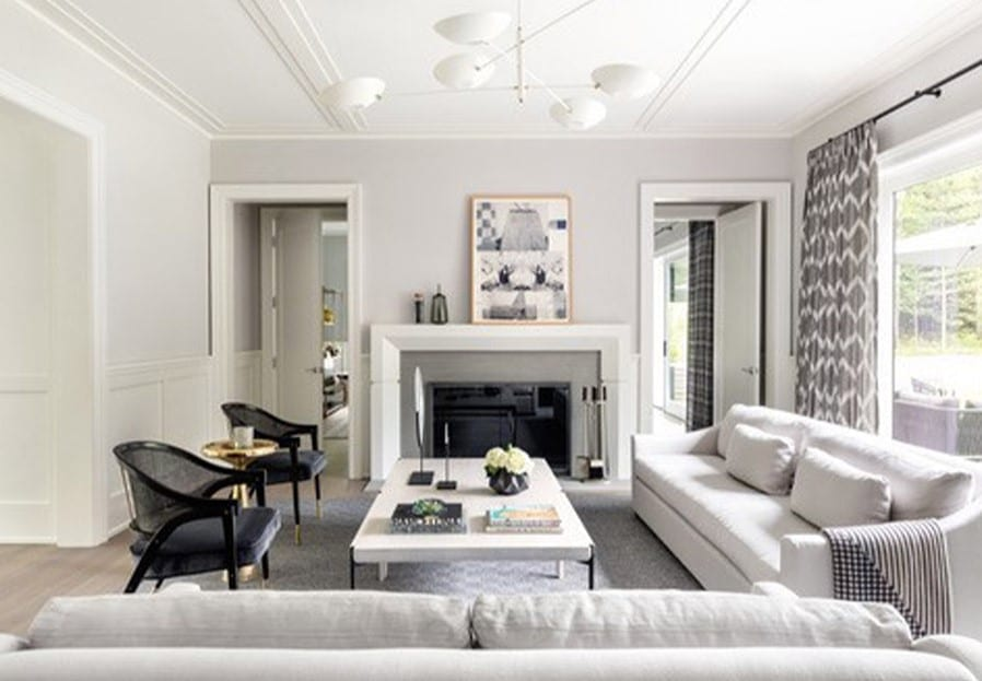 living room seating area with fireplace