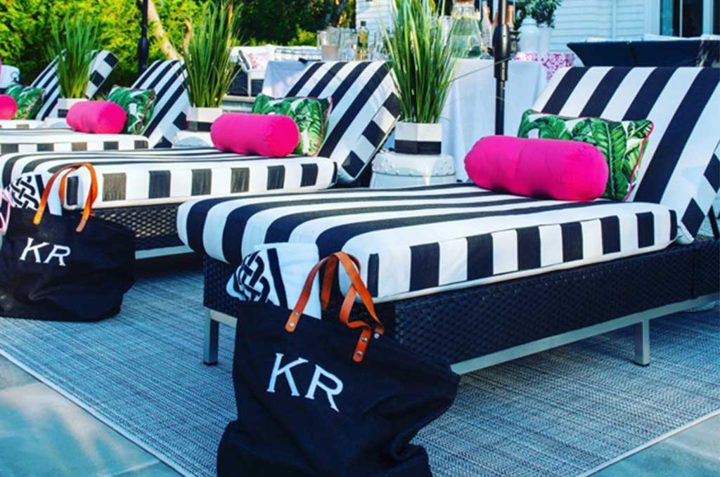 outdoor lounges with striped cushions
